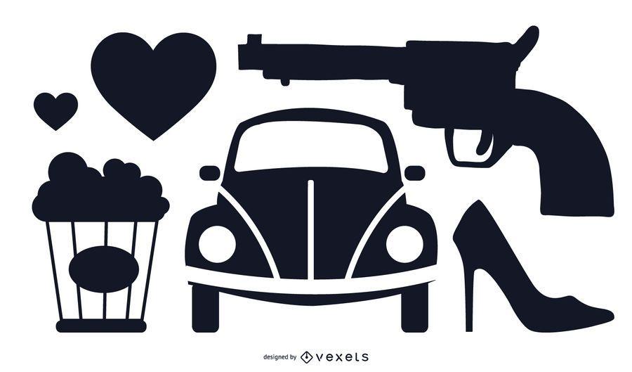Vector libre conjunto con varios coches, pistola, zapato, palomitas de maíz, objetos de corazones de amor