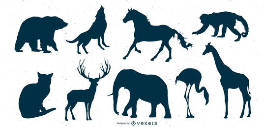Conjunto de silhueta de animais selvagens