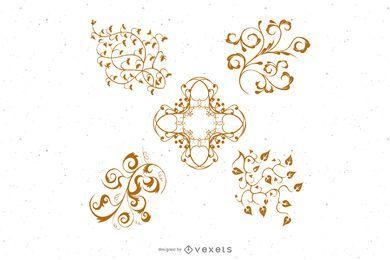 5 ornamentos florais vetoriais