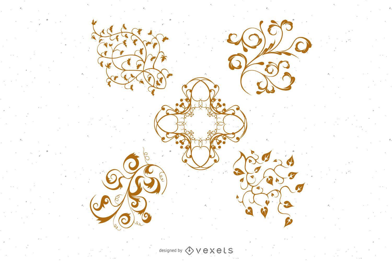 5 Vector Floral Ornaments