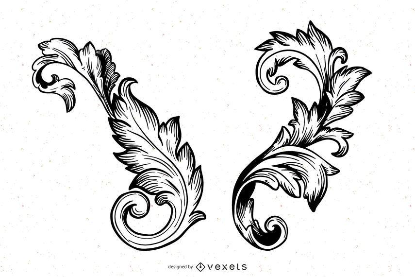 Drawn Floral vector set