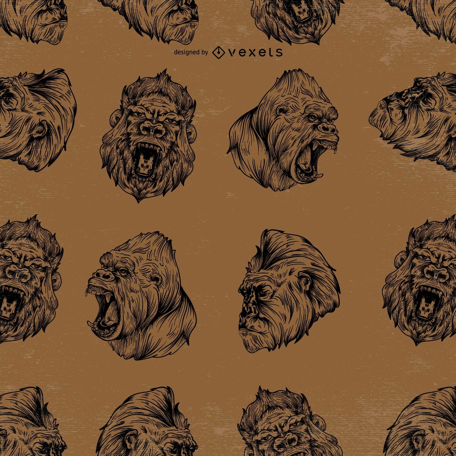 Diseño de patrón de gorila sin costuras