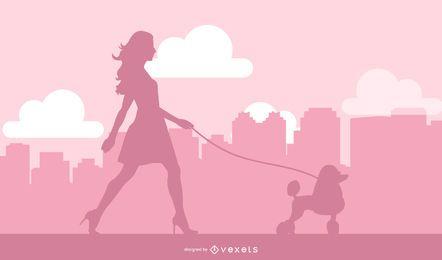Senhora, andar, cão