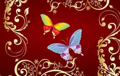 vetor de flores de borboleta
