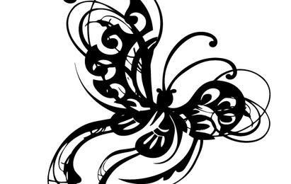 Ornamental Butterfly Silhouette