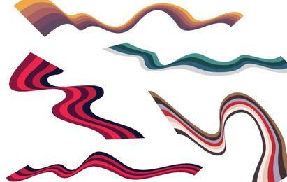 Wellenförmige Vektor Ribbon Set