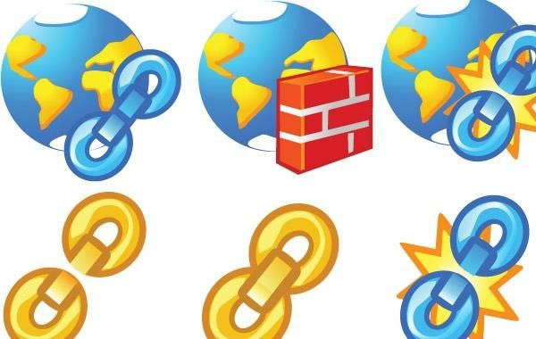 Globe and chain Icons