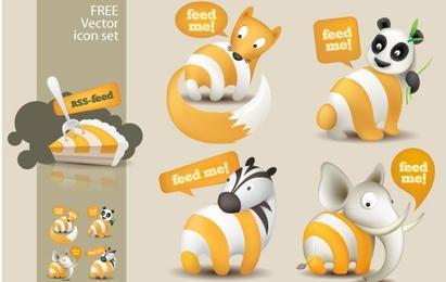 Feed Me Animals: Um conjunto de ícones de feed RSS grátis