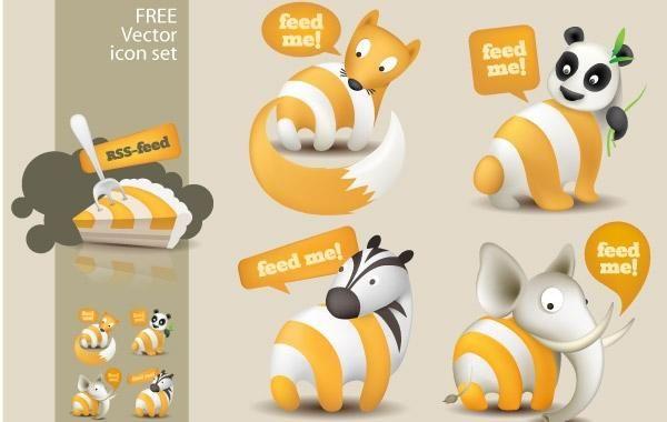 Feed Me Animals: Un conjunto de iconos de RSS gratis
