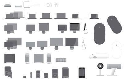 40 ícones do vetor para produtos da Apple
