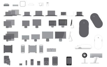 40 iconos vectoriales para productos de Apple