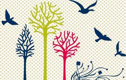 New free vector set: birds & trees