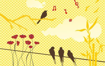 New free vector set: birds & flowers