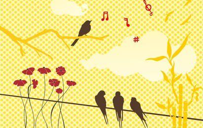 Nuevo conjunto de vectores gratis: pájaros y flores
