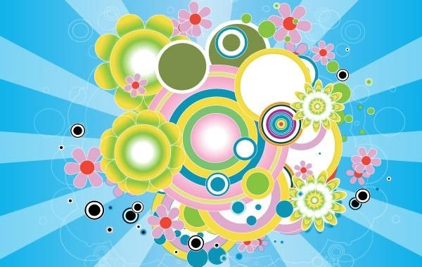 Círculos psicodélicos coloridos