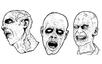 3 Libre Ilustrado Scary Zombie Gráficos vectoriales
