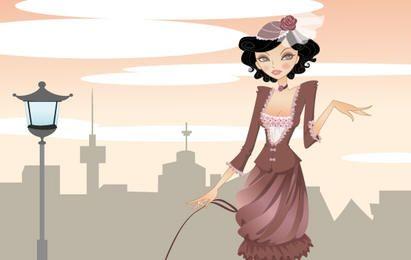 Dama elegante paseando por la ciudad.