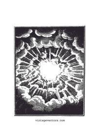 Cielo artístico luces rompiendo a través de las nubes