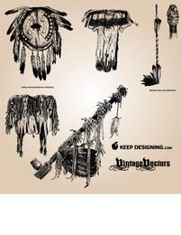 Paquete de objetos nativos americanos vintage