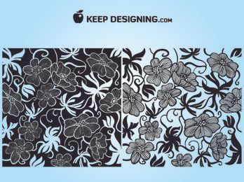 European Art Deco Floral Wallpaper