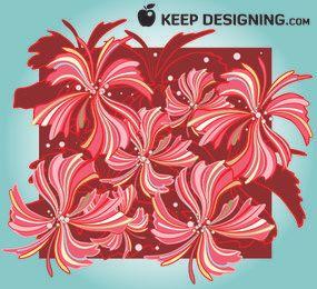 Red & Brown Whispy Floral Pattern
