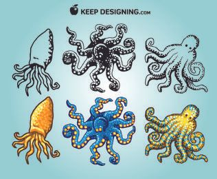 Funky Sketchy & Coloured Octopus Pack