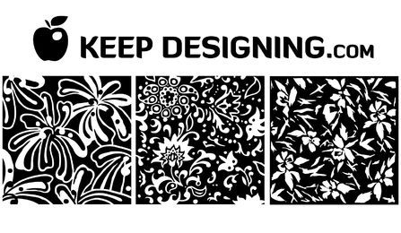 Dibujado a mano patrones florales vintage