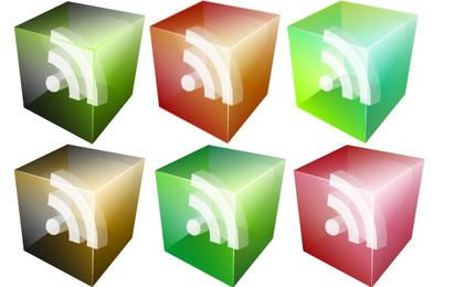 40 Vector translúcido 3D olhar RSS Icons