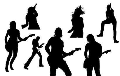 Silhuetas de vetor de música ao vivo