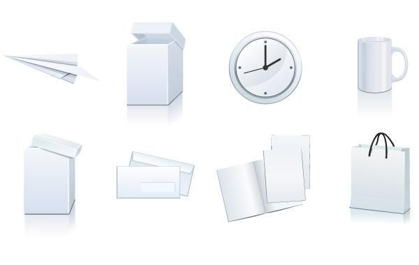 Vector set: white paper packaging and stationery elements