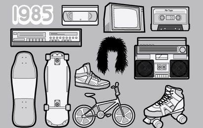 1985 un paquete de vectores gratis de 80 iconos
