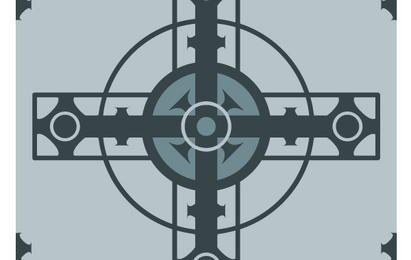 Cruz con diseño geométrico.