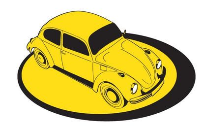 Yellow Volkswagem Beetle on platform
