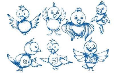 Pássaro de Twitter de mão desenhada