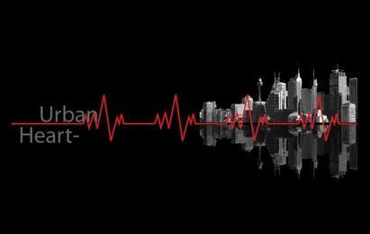 Línea de latidos del corazón urbano y edificios.