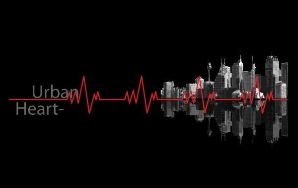 Urban Heartbeat line and buildings