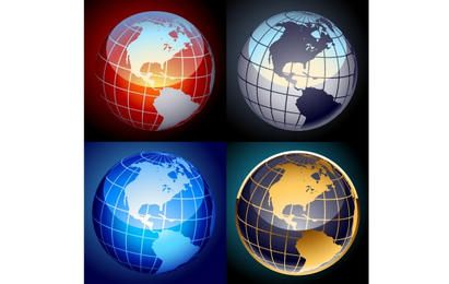 Set von Vektor-Globen