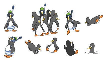 Divertido pingüino conjunto de vectores
