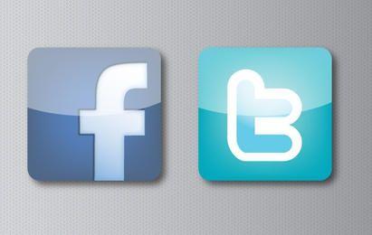 Ícones de mídia social Facebook Twitter