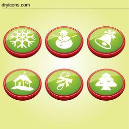 6 Christmas Buttons