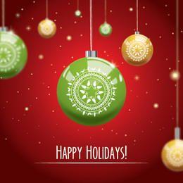 Plantilla de tarjeta de Navidad ornamental brillante