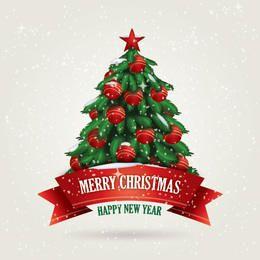 Snowy Xmas Card with Tree & Ribbon