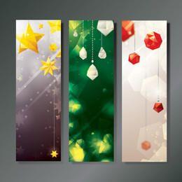 3 Christmas Banners with Diamonds and Stars