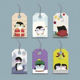 Funky Seasonal Penguin Price Tag Set