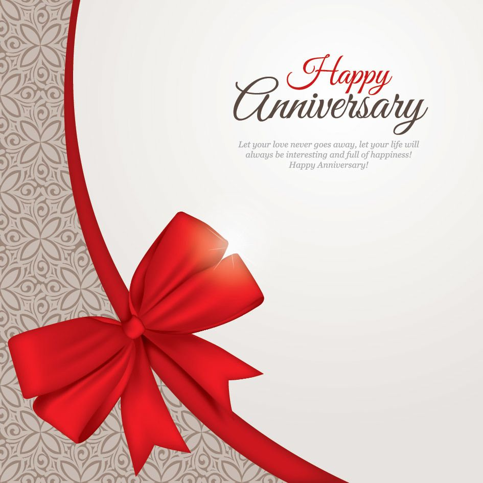 Beautiful Anniversary Card Template Vector Download