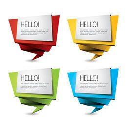 Conjunto de banners de origami multicolor