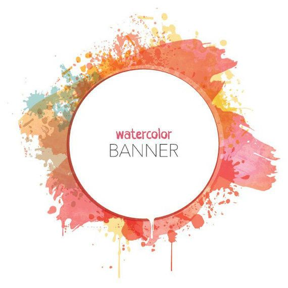 Watercolor Splashed Circular Banner Vector Download