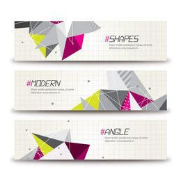 Abstract Colorful Triangles Banner Templates