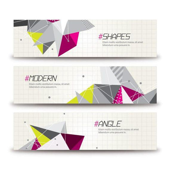 abstract colorful triangles banner templates vector download
