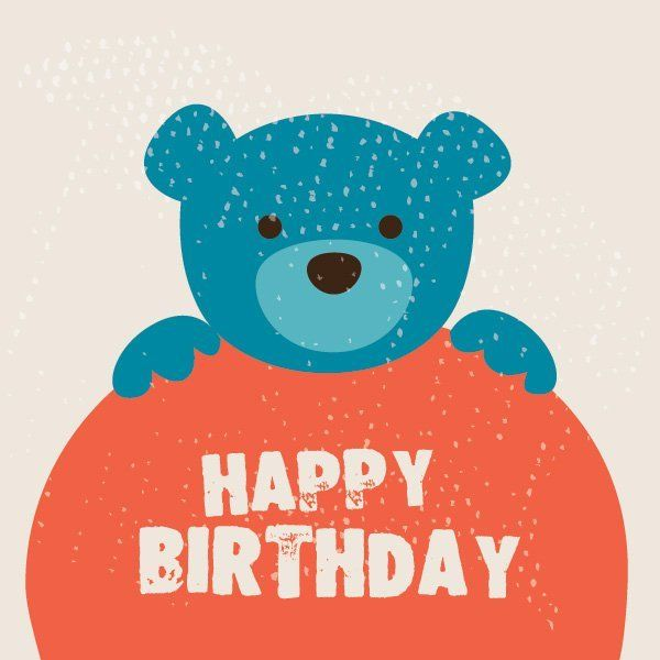 Cute Teddy Bear Birthday Card Download Large Image 600x600px License User